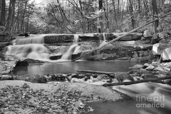 Photograph - Old Jelly Mill Falls Black And White by Adam Jewell