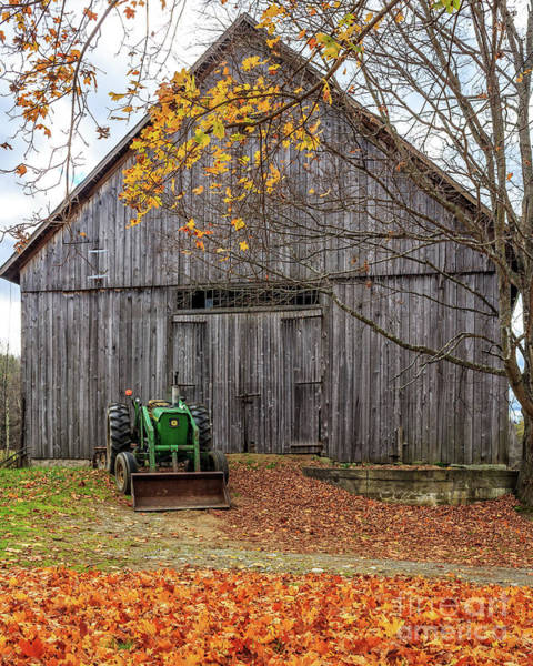 Photograph - Old John Deere Tractor Fall Foliage by Edward Fielding