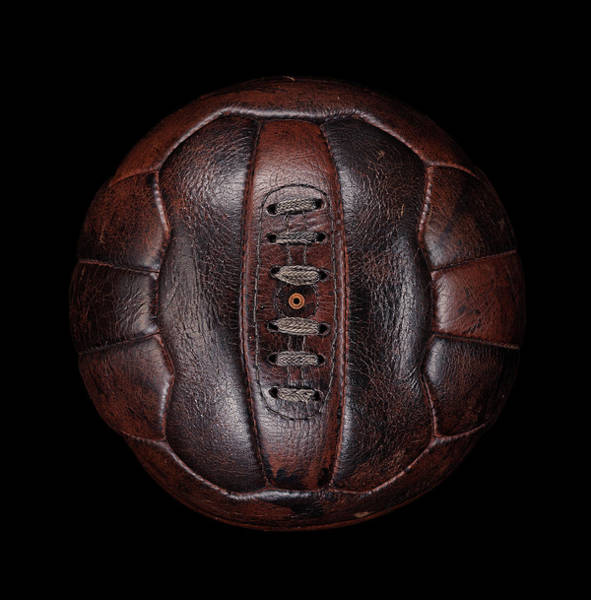 Ball Photograph - Old Leather Football On Black by Justin Lambert