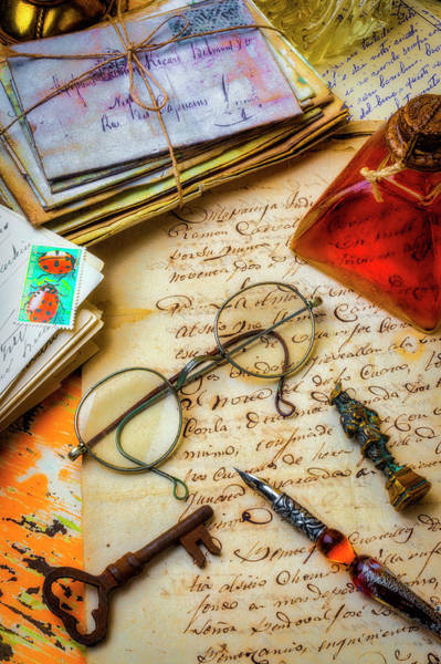 Ink Pen Photograph - Old Letters And Glasses by Garry Gay