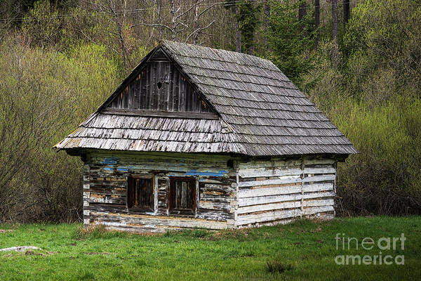Photograph - Old Log Home With Wooden Shingles by Les Palenik