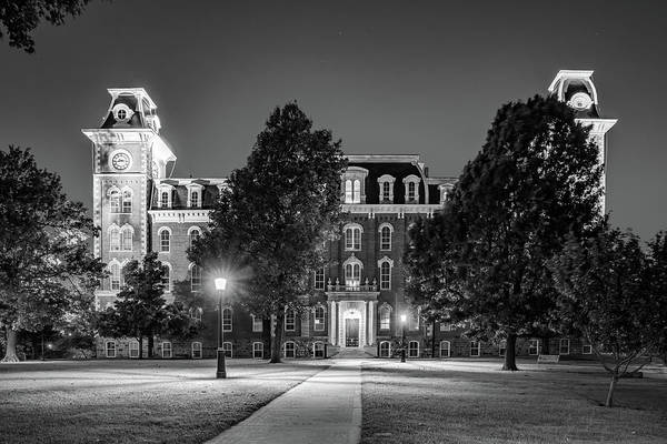 Photograph - Old Main At Twilight - University Of Arkansas - Monochrome by Gregory Ballos