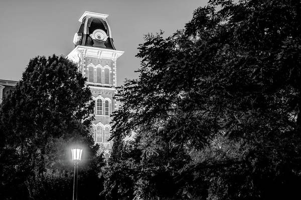 Photograph - Old Main In Black And White - University Of Arkansas by Gregory Ballos