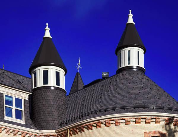 Wall Art - Photograph - Old Main, University Of Utah Spires Against A Blue Sky, Logan Utah by TL Mair