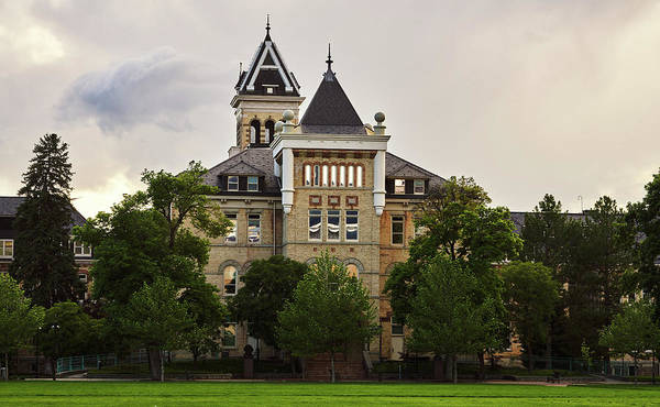 Wall Art - Photograph - Old Main, Utah State University, East Lawn, Logan Utah, Stormy S by TL Mair