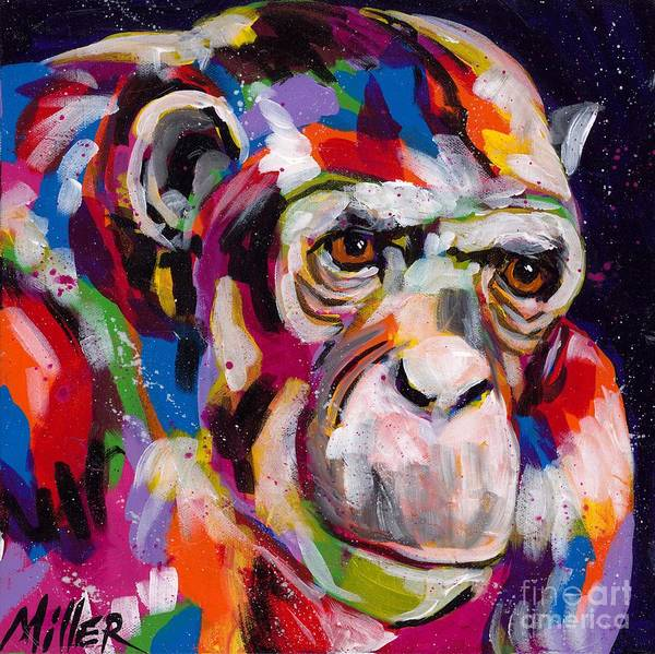 Wall Art - Painting - Old Man Chimp by Tracy Miller
