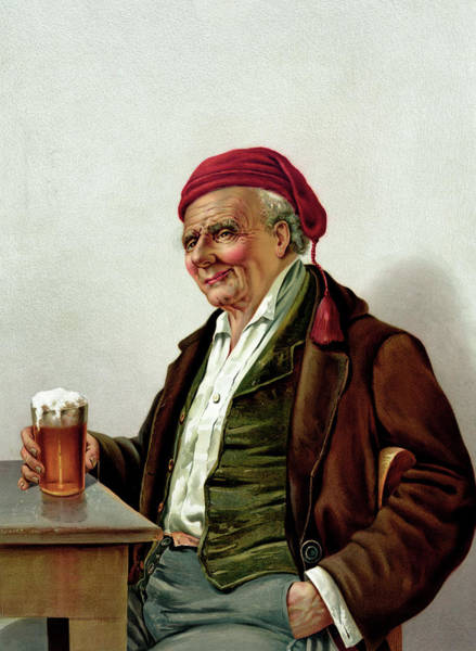 Printmaking Photograph - Old Man With A Beer At A Pub by Graphicaartis