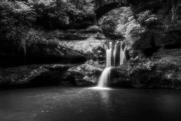 Photograph - Old Mans Cave Waterfall Black And White by Dan Sproul