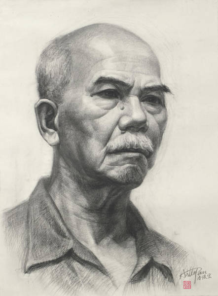 Pan Head Painting - Old Man's Head Portrait-arttopan Drawing-portrait Realistic Carbon Pencil Sketch by Artto Pan