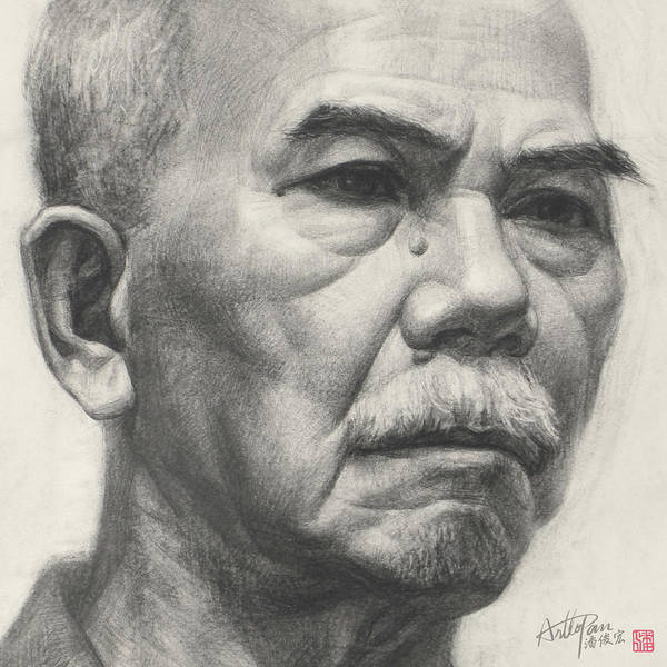 Pan Head Painting - Old Man's Head Portrait-part-arttopan Drawing-portrait Realistic Carbon Pencil Sketch by Artto Pan