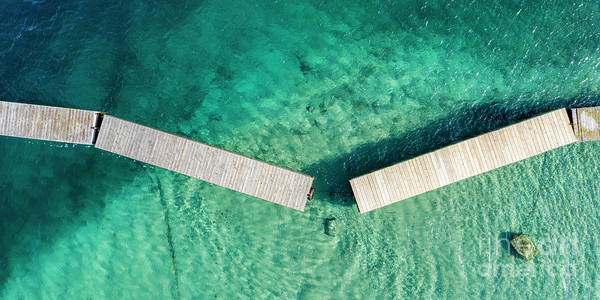 Wall Art - Photograph - Old Mission Peninsula Broken Dock Aerial by Twenty Two North Photography