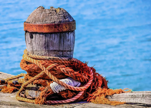 Photograph - Old Mooring Bollard by Lyl Dil Creations