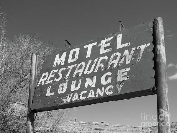Photograph - Old Motel Neon - Bw by Tony Baca