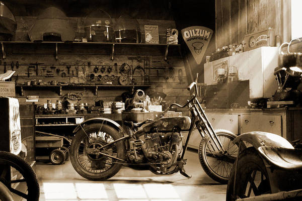 Wall Art - Photograph - Old Motorcycle Shop Sp by Mike McGlothlen