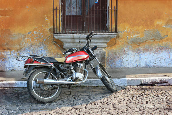 Antigua Photograph - Old Motorcyle In Colonial Antigua by Charles Harker