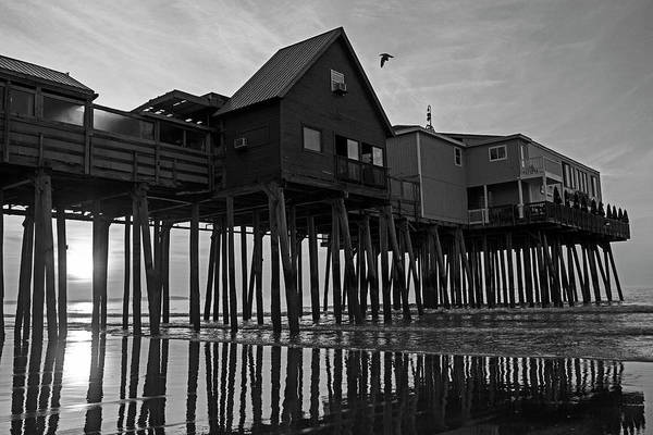 Wall Art - Photograph - Old Orchard Beach Maine Sunrise At The Pier Black And White by Toby McGuire