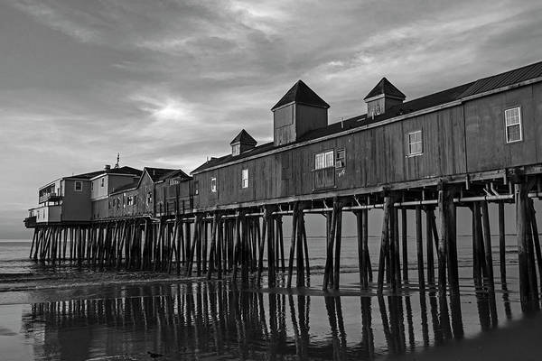 Wall Art - Photograph - Old Orchard Beach Pier Sunrise Maine Black And White by Toby McGuire
