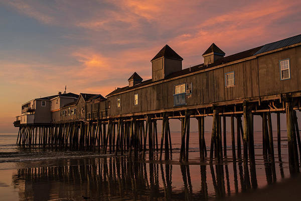 Wall Art - Photograph - Old Orchard Beach Pier Sunrise Maine by Toby McGuire