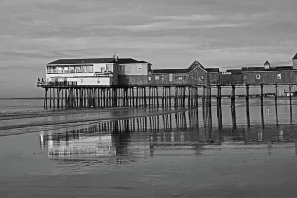 Photograph - Old Orchard Pier Reflection Maine Black And White by Toby McGuire