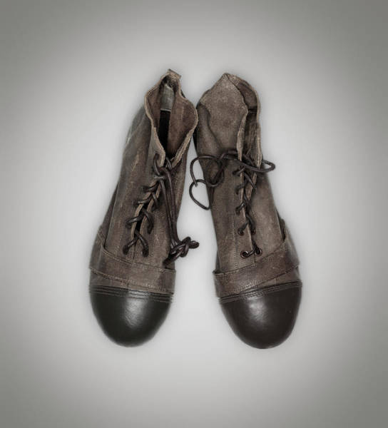 Shoe Photograph - Old Pair Of Football Cleats by John Rensten