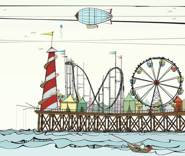 Messy Digital Art - Old Pier With Fairground Attractions by Jcgwakefield