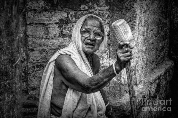Wall Art - Photograph - Indian Street Photo - Old Poor Woman Portrait by Stefano Senise