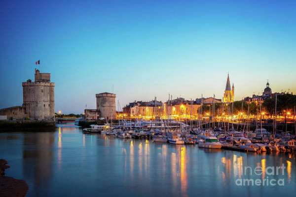 Wall Art - Photograph - Old Port Of La Rochelle At Night by Delphimages Photo Creations