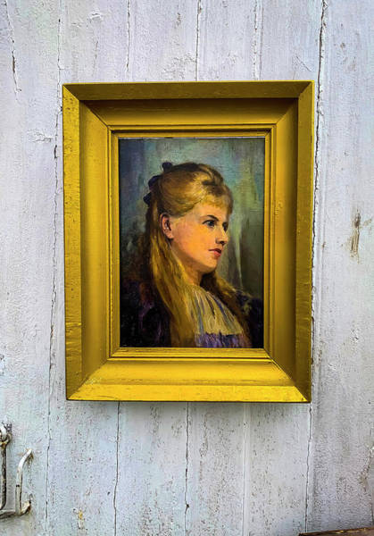 Wall Art - Photograph - Old Portrait Hanging On Door by Garry Gay