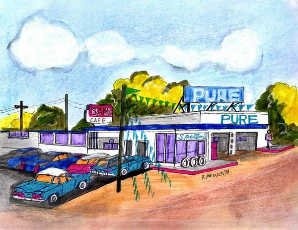 Gas Station Drawing - Old Pure Oil Station by Paul Meinerth