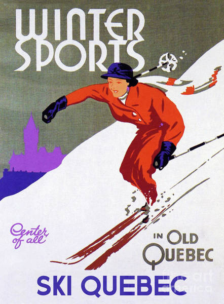 Wall Art - Painting - Old Quebec Winter Sports Ski Poster by Tina Lavoie