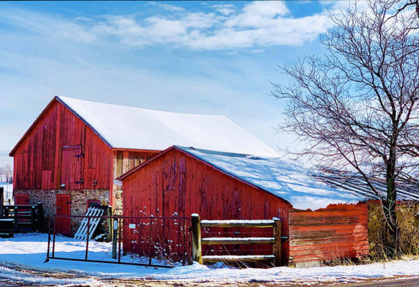 Wall Art - Photograph - Old Red Barn And Loafing Shed by Marilyn Hunt