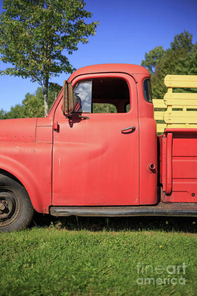 Wall Art - Photograph - Old Red Farm Truck Vermont by Edward Fielding