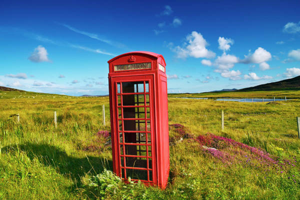 Out Of Context Photograph - Old Red Telephone Box On Farmland by Frank Krahmer