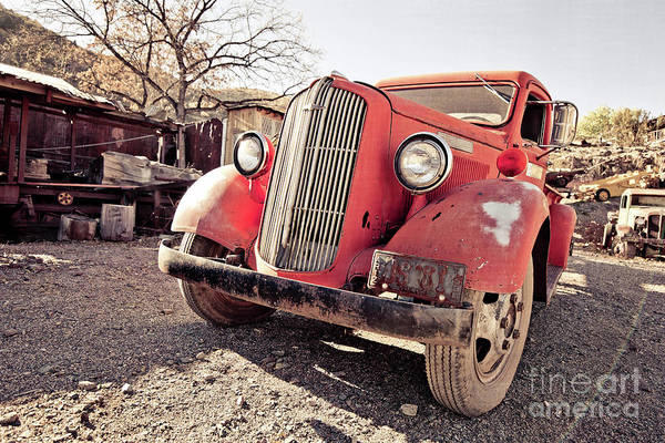 Wall Art - Photograph - Old Red Truck Jerome Arizona by Edward Fielding