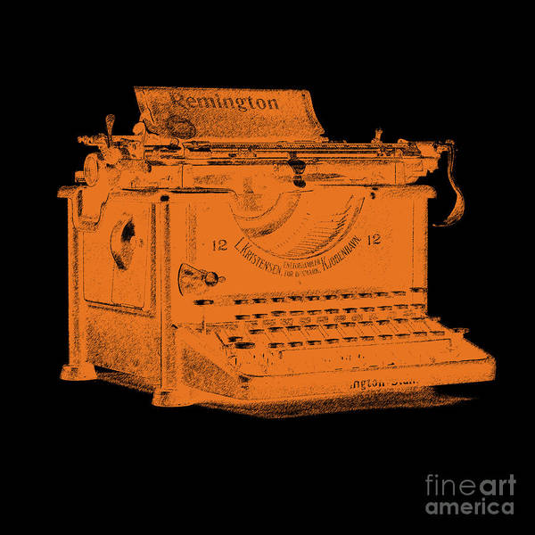 Wall Art - Digital Art - Old Remington Typewriter Graphic Design Orange by Edward Fielding