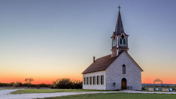 Wall Art - Photograph - Old Rock Church Sunset by Stephen Stookey