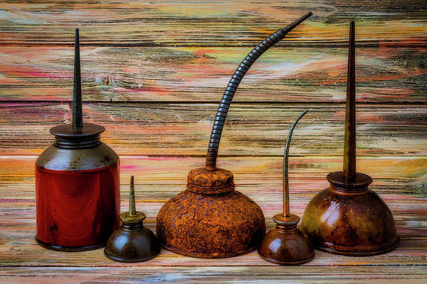Wall Art - Photograph - Old Rusty Oil Cans by Garry Gay