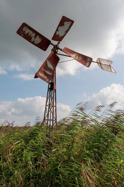 Photograph - Old Rusty Windmill. by Anjo Ten Kate