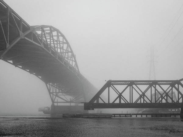Photograph - Old Sakonnet River Bridge V Bw by David Gordon