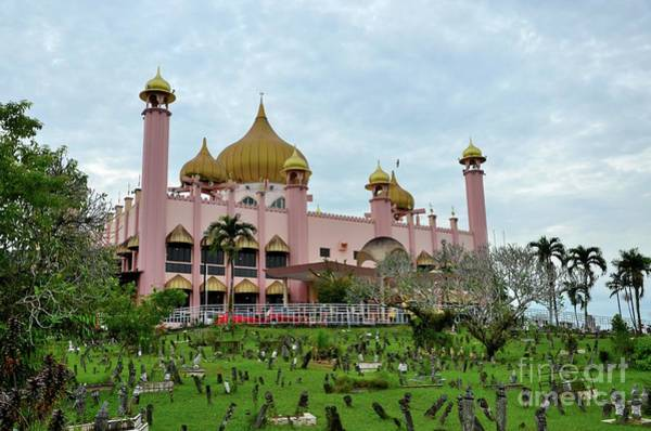 Photograph - Old Sarawak State Mosque Aka Masjid Lama Pink Mosque With Graveyard Kuching East Malaysia by Imran Ahmed