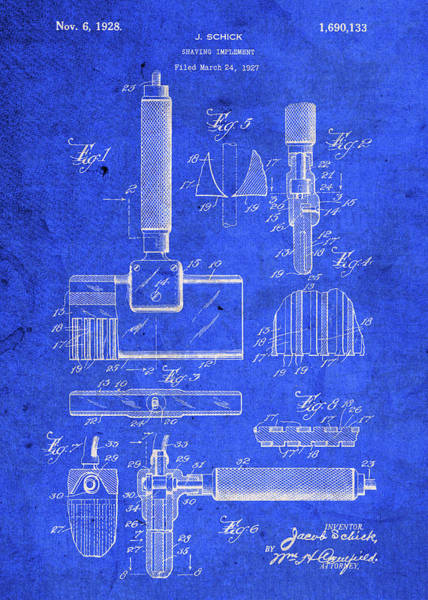 Blades Mixed Media - Old Schick Shaving Device Vintage Patent Blueprint by Design Turnpike