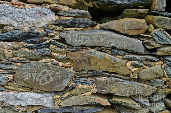 Old Schist Wall With Several Dates From 19th Century. Portugal Art Print