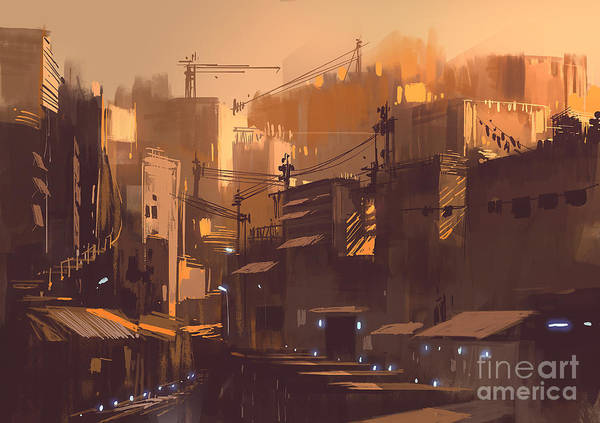 Wall Art - Digital Art - Old Sci-fi Building,digital Painting by Tithi Luadthong