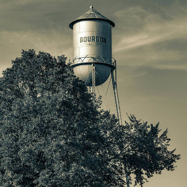 Photograph - Old Sepia Bourbon Water Tower - Missouri Route 66 1x1 by Gregory Ballos