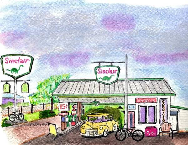 Gas Station Drawing - Old Sinclair Gas Station Route 66 by Paul Meinerth