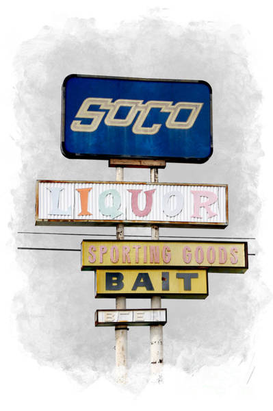 Photograph - Old Soco Sign Salton Sea Selective Coloring Digital Art by Colleen Cornelius