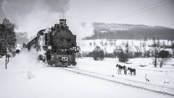 Power Station Wall Art - Photograph - Old Steam Train Puffing Across Winter by Tomas Kulaja