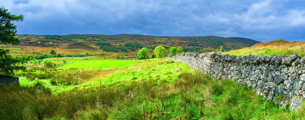 Wall Art - Photograph - Old Stone Wall Passing Through Field by Panoramic Images