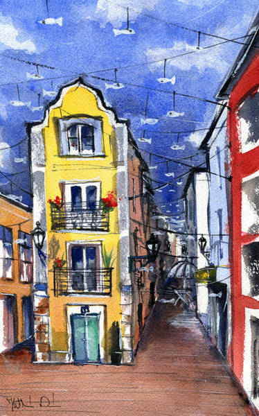 Painting - Old Street In Setubal Portugal by Dora Hathazi Mendes