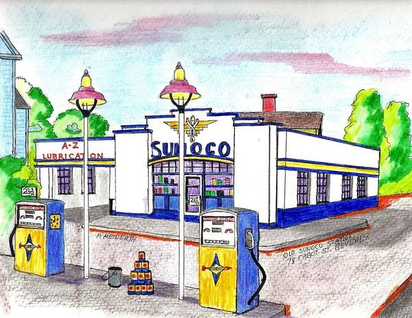 Gas Station Drawing - Old Sunocomgas Station by Paul Meinerth